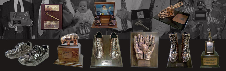 bronzing baby shoes, corporate awards and sports memorabilia on plaques and bases